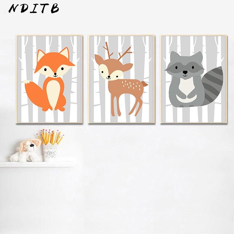 Woodland Fox Deer Nursery Wall