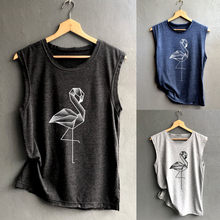 Women Tops Sleeveless Geometric swan Print T Shirt canotte donna Casual Loose Tank Top Soft Comfortable Summer female sports top(China)