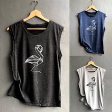 871bdf6b126a Women Tops Sleeveless Geometric swan Print T Shirt canotte donna Casual Loose  Tank Top Soft Comfortable