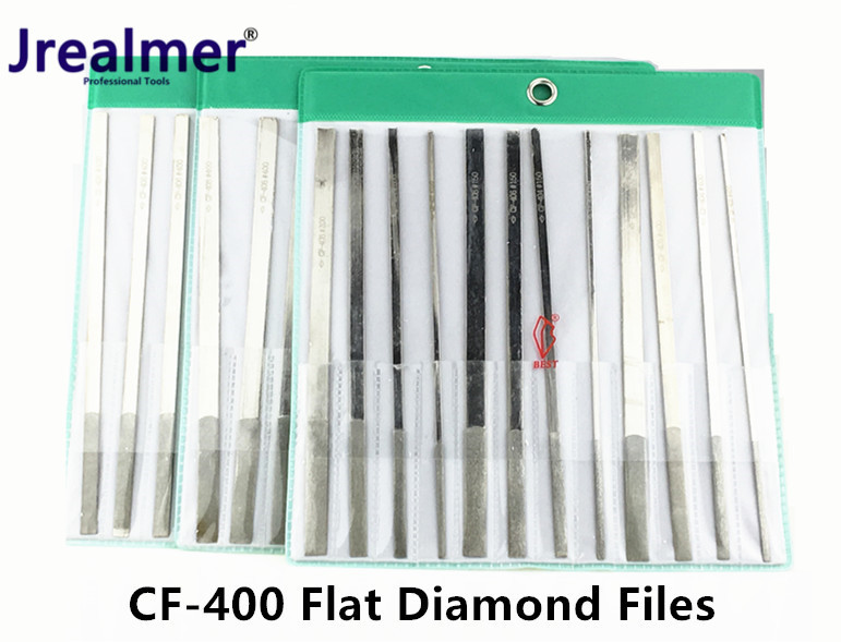 Jrealmer TAIWAN Diamond Flat Hand FILES CF-400 CF-402 CF-404 CF-406 CF-408 12pcs/set Diamond Coating Needle Flat File Set