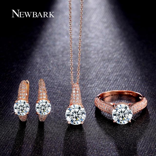 Conjuntos de jóias de casamento relógio newbark definir brilhando brincos de argola 2 Carat Corte Redondo Colar E Anéis Rose Banhado A Ouro Partido presente