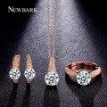 Sistemas de la joyería reloj de la boda newbark set brillante pendientes de aro 2 quilate Corte Redondo Collar Y Anillos de Oro de Rose Plateado Partido regalo