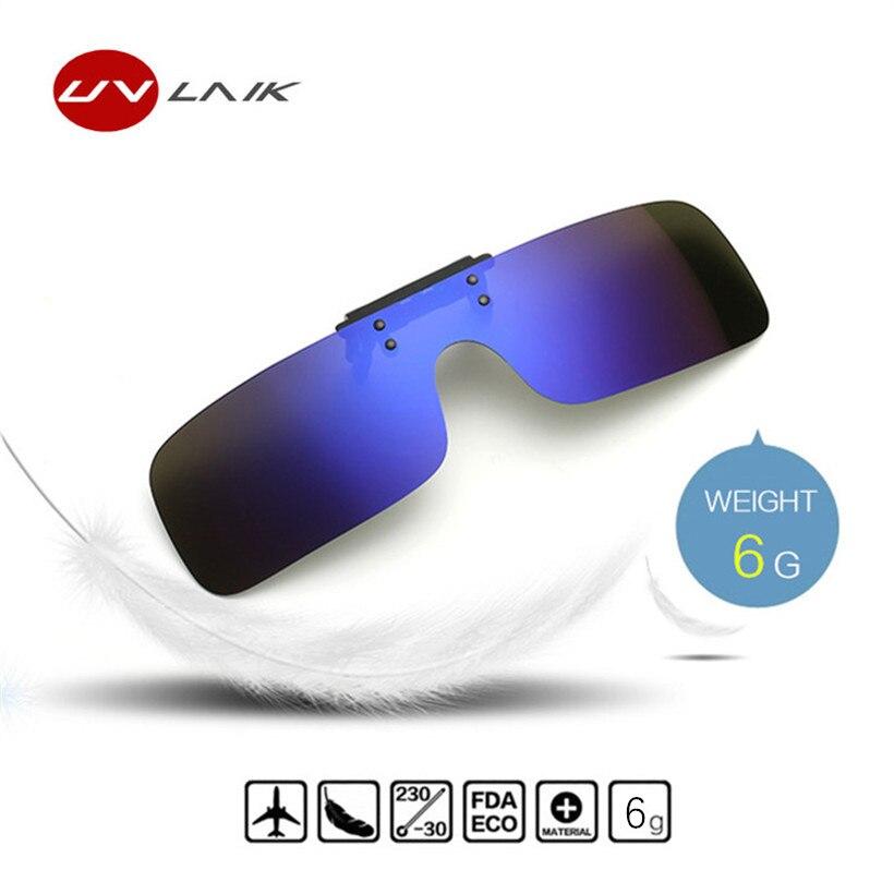 UVLAIK Clip auf Sonnenbrille Männer Fahren Polarisierte Flip up Brille Frauen Rahmenlose Nacht Vision Goggles Brillen Clip