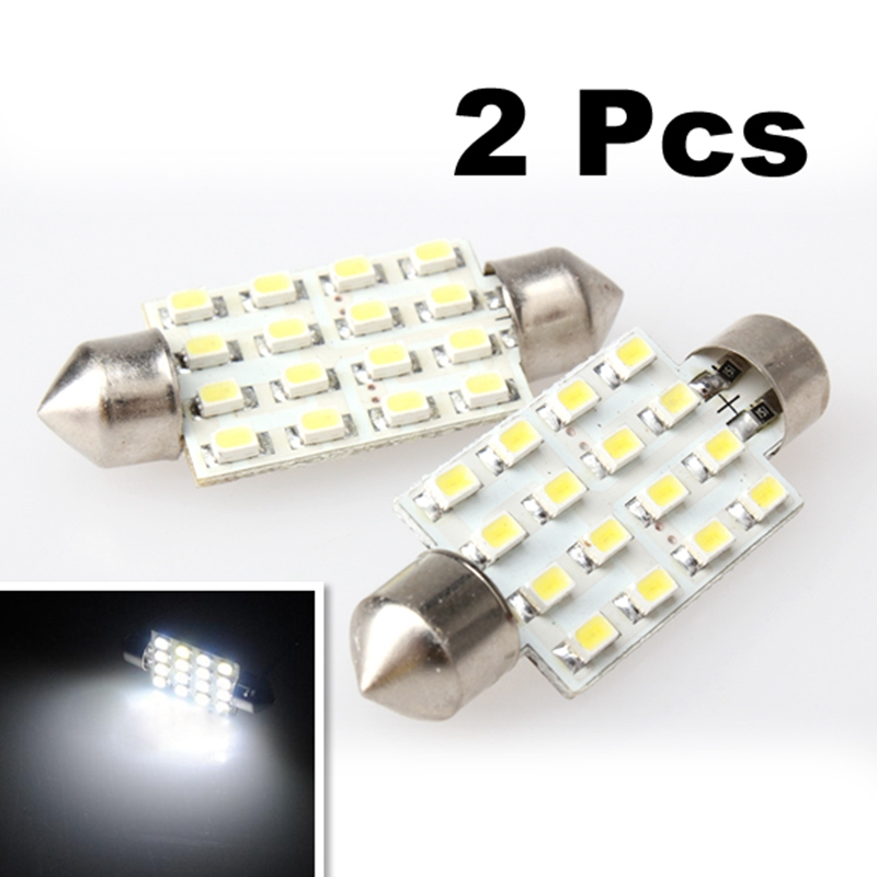 2Pcs Car-styling 42mm Super White Festoon Dome Lamp Automobiles 16 SMD LED Light Automobiles Interior Light-emitting Diode Bulb 2pcs 12v 31mm 36mm 39mm 41mm canbus led auto festoon light error free interior doom lamp car styling for volvo bmw audi benz