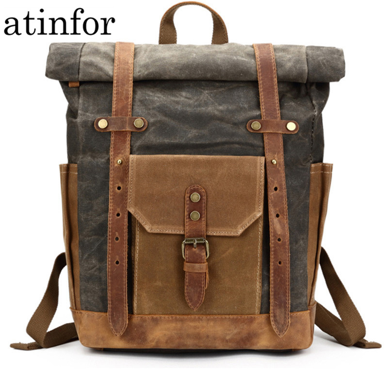 Waterproof Oil Wax Canvas with Cow <font><b>Leather</b></font> <font><b>Backpack</b></font> Travel School Bagpack Men 15.6