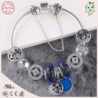 High Quality blue type Luxurious Blue Charm Series 925 Sterling Silver Charm Bracelet for women