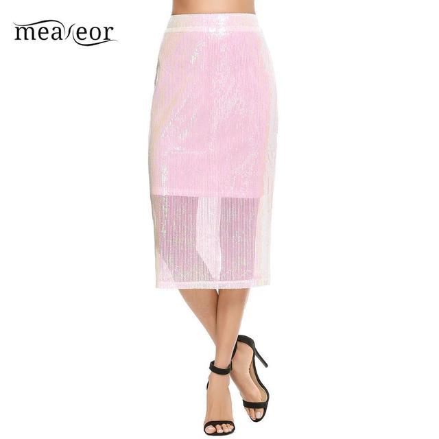 meaneor Women Slim Solid Sequined Zipper Casual Skirt Hem Split Back
