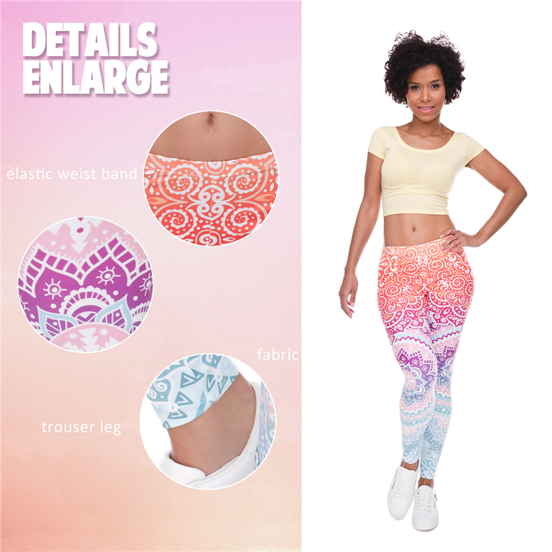 Image 5 - Pink Aztec Mandala Print Fashion Woman Leggings Lady Close fitting Fitness Pants Breathable Perspiration Quick dry Sport Pants-in Leggings from Women's Clothing