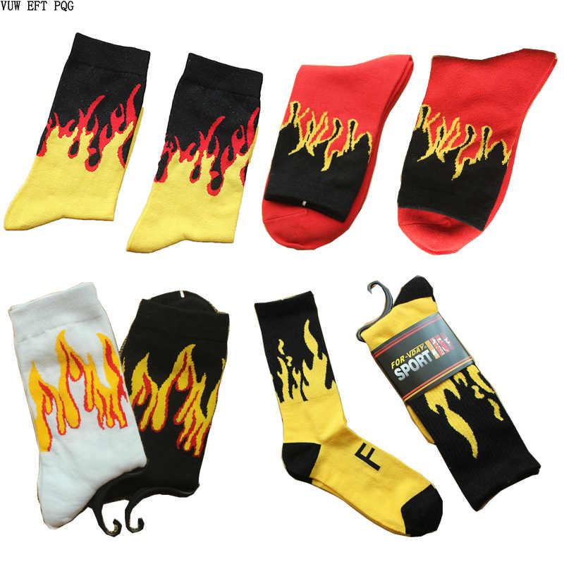 Mode Mannen Hip Hop Hit Kleur Op Fire Crew Sokken Rode Vlam Blaze Power Torch Hot Warmte Straat Skateboard Katoen lange Sokken