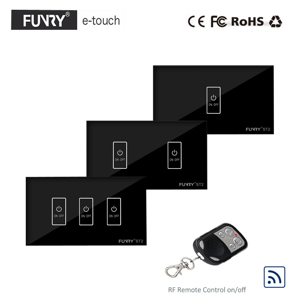 FUNRY US Type 1 2 3 Gang 1 Way RF433 Wireless Remote Control Smart Switch, Crystal Glass Panel Touch Light Switch, Black Color funry st1 us 3gang light smart switch crystal glass panel wireless touch remote control 110 240v surface waterproof interruptor