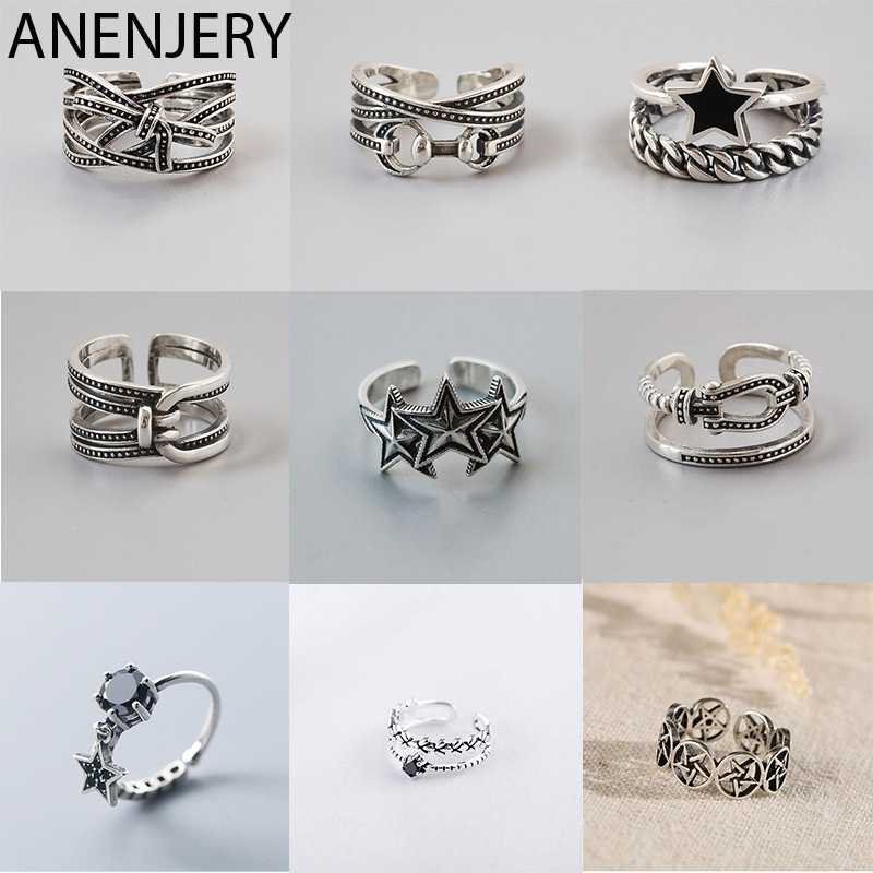 ANENJERY 925 anillos de plata esterlina Vintage para hombres mujeres tamaño 16mm-18mm ajustable hecho a mano Thai anillos de plata S-R460