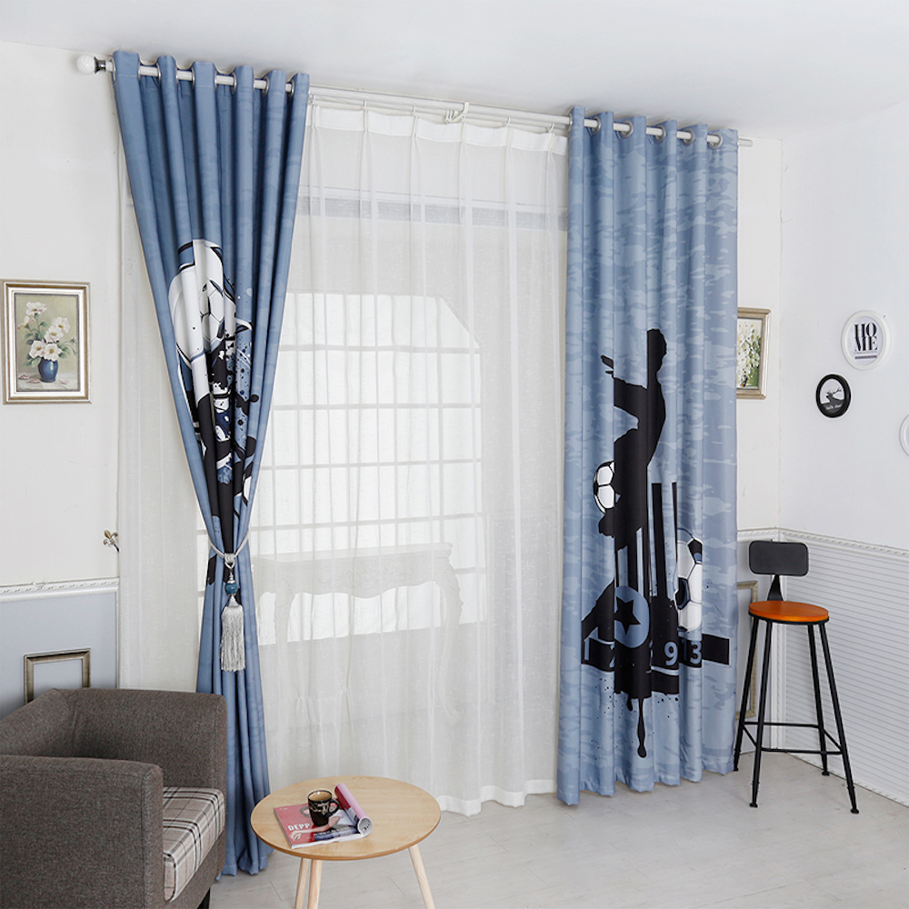 Dressing 200 Cm Us 45 Personal Tailor 2x Grommet Window Drapery Curtain Tulle Nursery Kids Children Room Window Dressing 200cm X 260cm Football Soccer In Curtains
