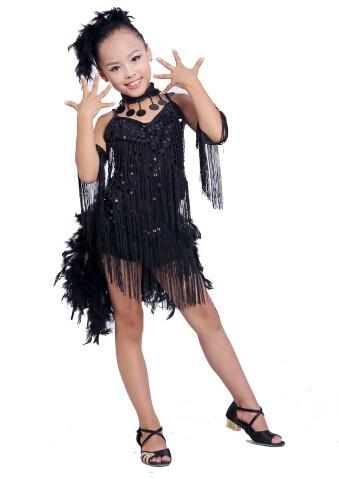 DB23553 fringe feather sequin latin dance dress-11