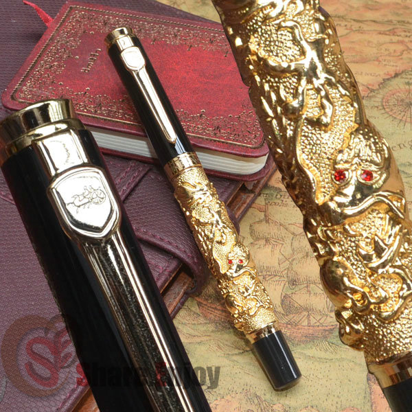 JINHAO AUSPICIOUS DRAGON GOLDEN AND BLACK FINE NIB FOUNTAIN PEN  jinhao black and gold auspicious dragon embossed fountain pen with 0 5mm nib for gift pens free shipping