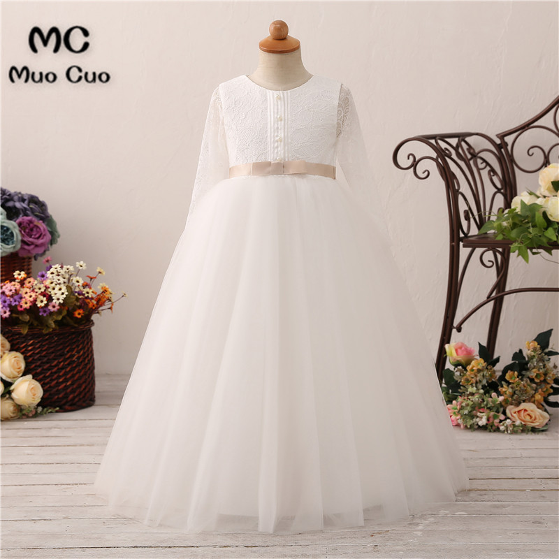New 2018 Long Sleeves   Flower     Girl     Dresses   For Weddings Lace First Communion   Dresses   For   Girls   Pageant   Dresses   White Ivory