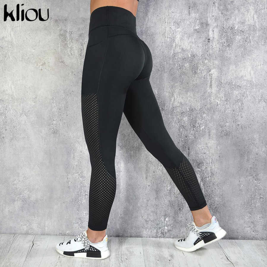 86053365cdc771 Kliou women high waist patchwork leggings 2018 new sporting fitness elastic  sportswear female push up Active