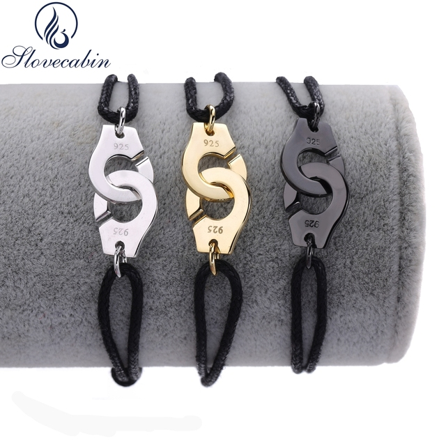 Lovecabin 2017 Франция Аутентичные стерлингового серебра 925 пробы Черная веревка Menottes браслет наручники для женщин серебро-ювелирные изделия