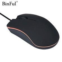 BinFul piękny prezent z nową optyką USB 2.0 LED przewodowa mysz gamingowa myszy na PC laptop