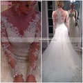 Sparkly Elegant Wedding Dresses Long Sleeve 2017 Beading Bride Gown Sheer Back Applique Lace Tulle Beads  Vestido De Noiva W591