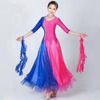 Modern Dance Ballroom Dance Skirt Pendulum Rhinestone Dress Color Waltz Tango Ballroom Dance Costume Contest