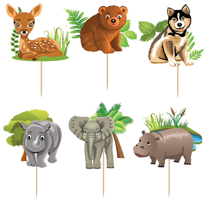 6 designs jungle forest animals cake toppers picks kid 39 s for Classic jungle house for small animals
