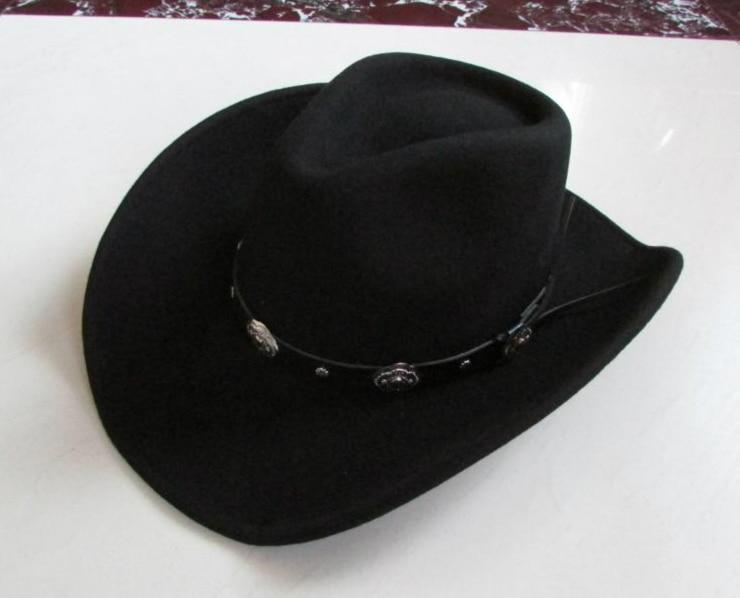 New 100% Woolen Cap Mens Waterproof Wrinkle free Equestrian Hat Adult Wide Brim Cowboy Hat Large brimmed Gentleman Cap B 8133Mens Fedoras   -