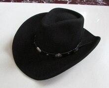 Nowy 100% wełniana czapka męska wodoodporna bez zmarszczek kapelusz jeździecki dorosły szerokim rondem kapelusz kowbojski dżentelmen z dużym rondem czapka B 8133