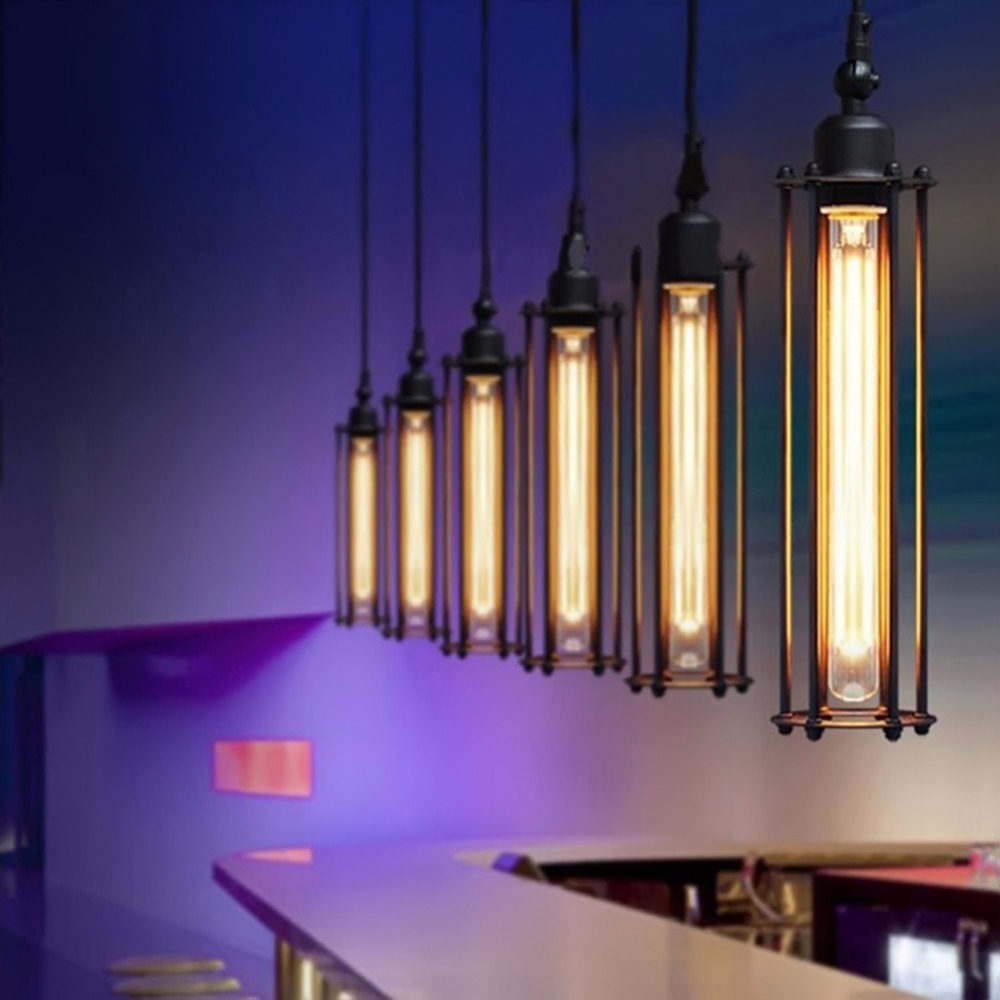E27 Edison Bulbs Iron Article Bar Pendant Lights Industrial Restaurant Bar Iron Single Flute Led Lamp Pendant Lamp