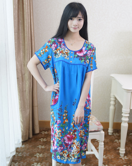 New Blue Women\'s Summer Cotton Bathrobe Lady Short Sleeve Print Robe ...