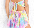 2017 Macacao feminino Women Crop Tops New Fashion Womens Rainbow tie-dye backless Crop Top Shorts Twinset Two Piece Hot Pants#17