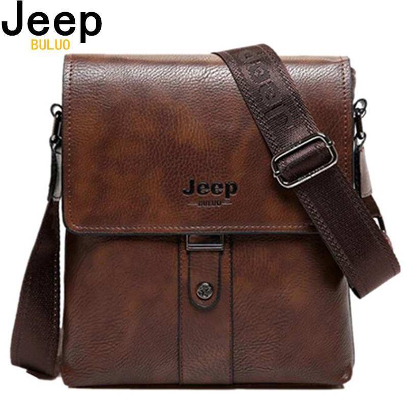 JEEP BULUO Brand Men's Bags Split Leather Fashion Male Messenger Bags Man Casual Crossbody Shoulder Bag For IPad Mini Classic