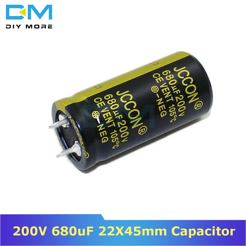 200V 680uF 22X45mm 22X45 Aluminum Electrolytic Capacitor High Frequency Low Impedance Through Hole Capacitor 22*45mm Diymore