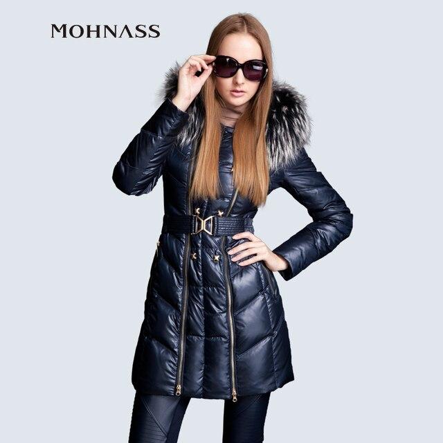 MOHNASS 2015 новынка пуховик женские натуральный мех с мехом с капюшоном длинный тёплый пальто модный куртка высокое качество бесплатная доставка 3A7031-20