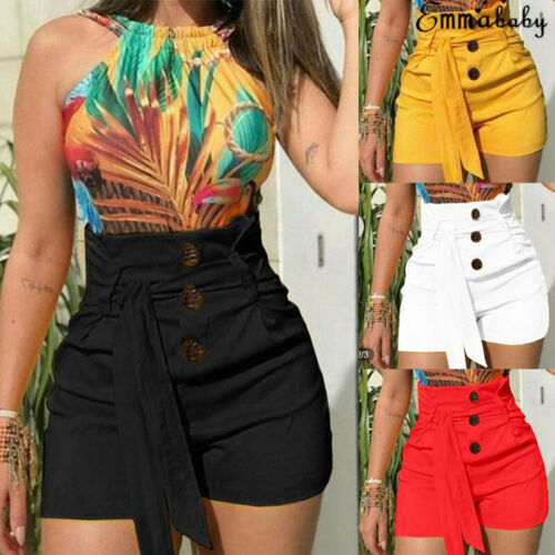 New Women Ladies High Waist Fashion Solid Button Sashes Summer Casual Solid Beach Belt Hot Sexy Shorts