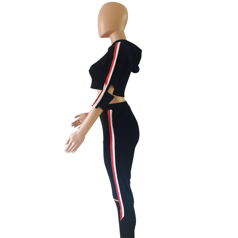 Hole 2 Piece Sets Women Tracksuit Casual Sweat Pants Stripe Hooded Cropped Sweatshirt Hoodie Long Pants Tops Suit Womens Set