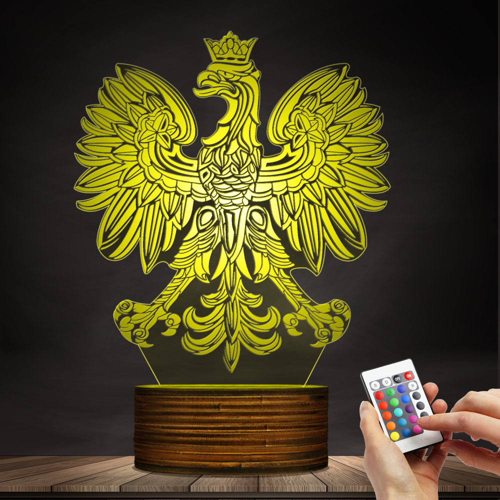 Polish Coat of Arms Polska 3D Optical illusion USB Light Home Decor ...