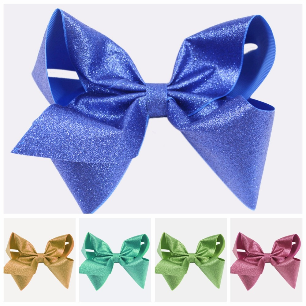 7 inch Bows solid glitter Grosgrain Ribbon Bows With Clip Bow knot Headwear for Children Girls Hair Accessories 1PC/lot