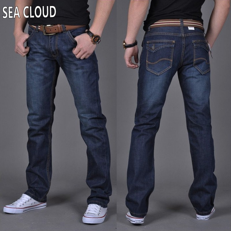 ФОТО Sea CloudFree shipping plus size 4xl 6xl 48 50 52 men hip-hop pants cotton black blue jeans men loose straight long trousers