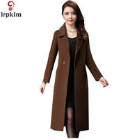 Brand Woolen Coat Winter Woman Coats 2018 Breasted Long Section Feminine Coat Suit Collar Double Faced Cashmere Coat LZ775