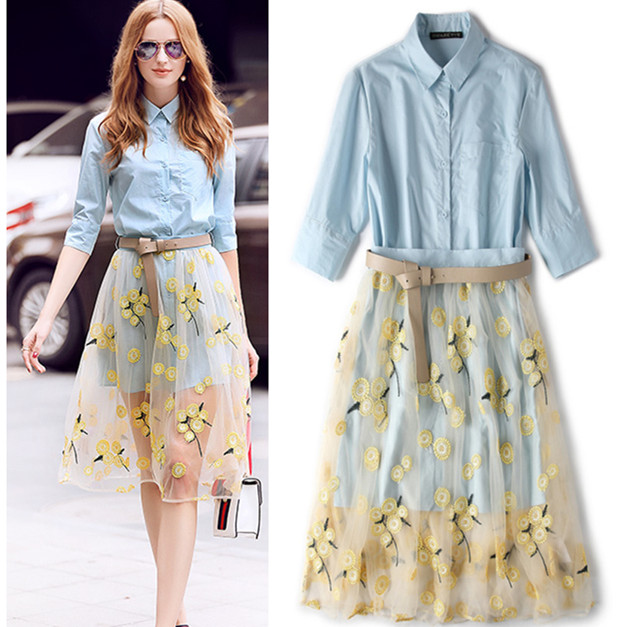 With Belt! Summer designer women's clothing set skirt suit long office ladies shirts + embroidery flowers mesh skirt suits NS639