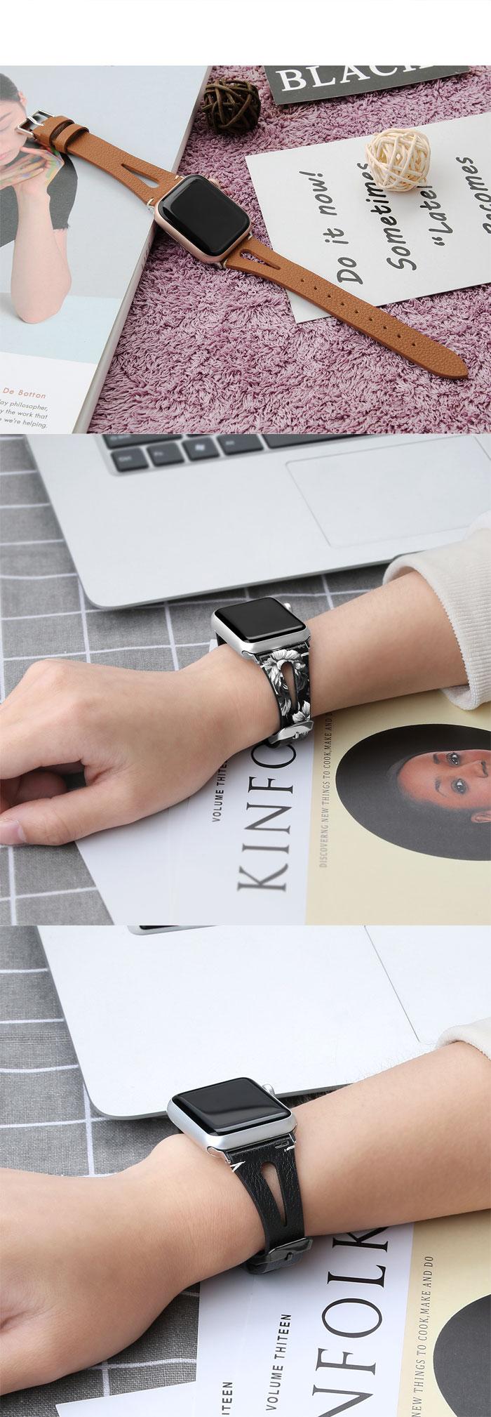 Bracelet Femme en cuir véritable pour Apple Watch