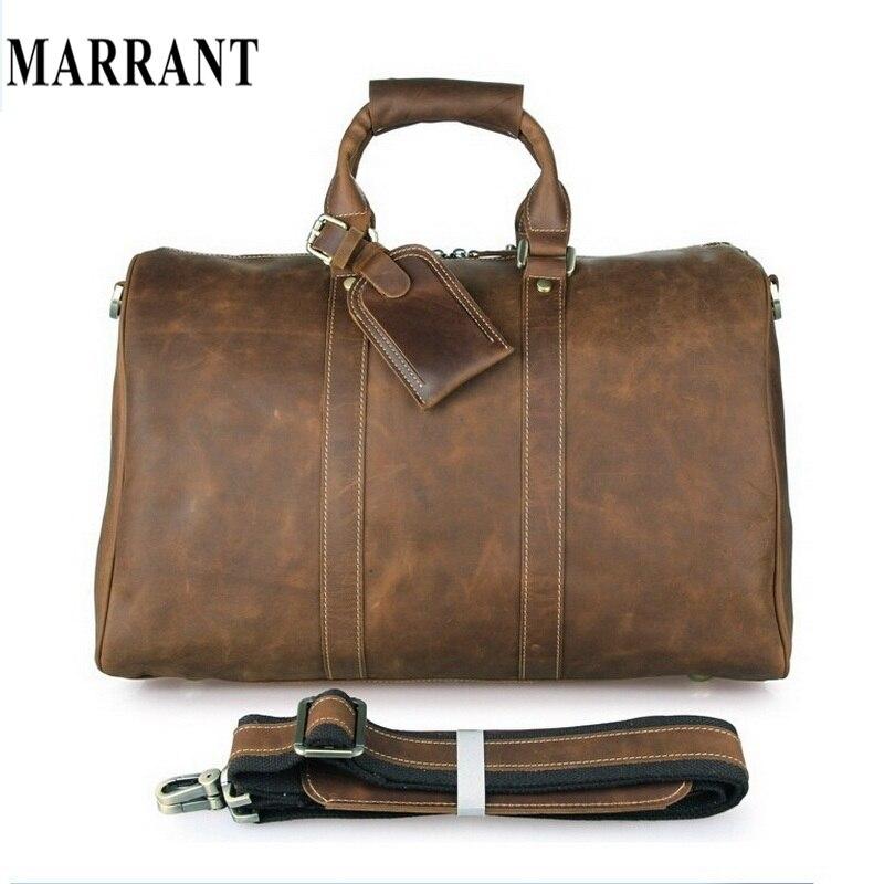 MARRANT Crazy Horse Leather Men Travel Bag Tote Large Luggage Vintage Leather Travel Duffles Men Messenger Shoulder Handbag