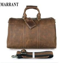 MARRANT Crazy Horse Leather Men Travel Bag Tote Large Luggage Vintage Leather Travel Duffles Men Messenger Shoulder Handbag