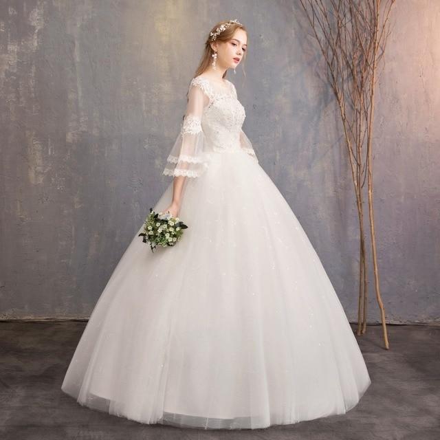 Nuovo Disegno di Vendita Caldo Classico Semplice Bianco Viory Abiti di Sfera Noiva Casamento Moda Robe De Mariage Sette Sleeve Custom Made