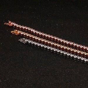Image 5 - Uwin 1 linha rosa ouro zircão tênis correntes pulseira cor de ouro cobre iced para fora cz corrente hip hop jóias presente transporte da gota