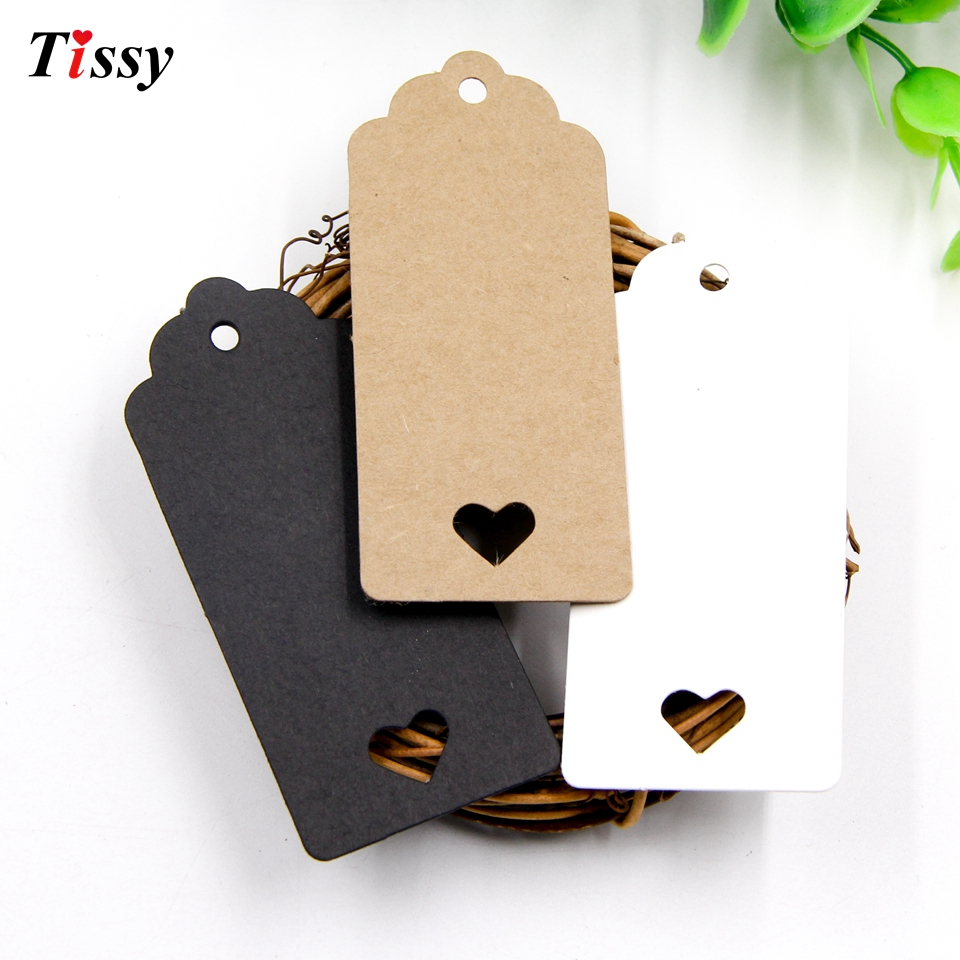 50PCS DIY Kraft Paper Tag Hollow Love Labels Card Hang Tag Wedding Party Note Blank Price Hang Tag Kraft Gift Wrapping Supplies