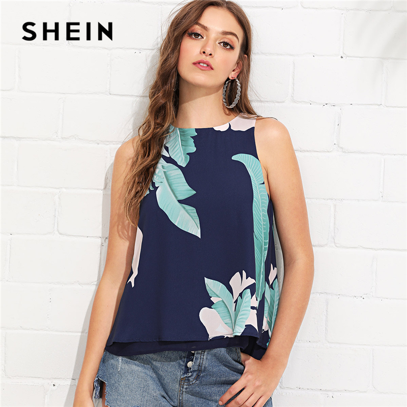 SHEIN Multicolor Vacation Boho Bohemian Beach Slit Layered Back Tropical Print Round Neck Tank Top Summer Women Casual Vest casual women s round neck print ruffled top