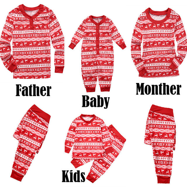 fc581d48db86 Family Match Christmas Pajamas Set 2017 New Xmas Hot Sale Mum Dad Kid Baby  Sleepwear Nightwear