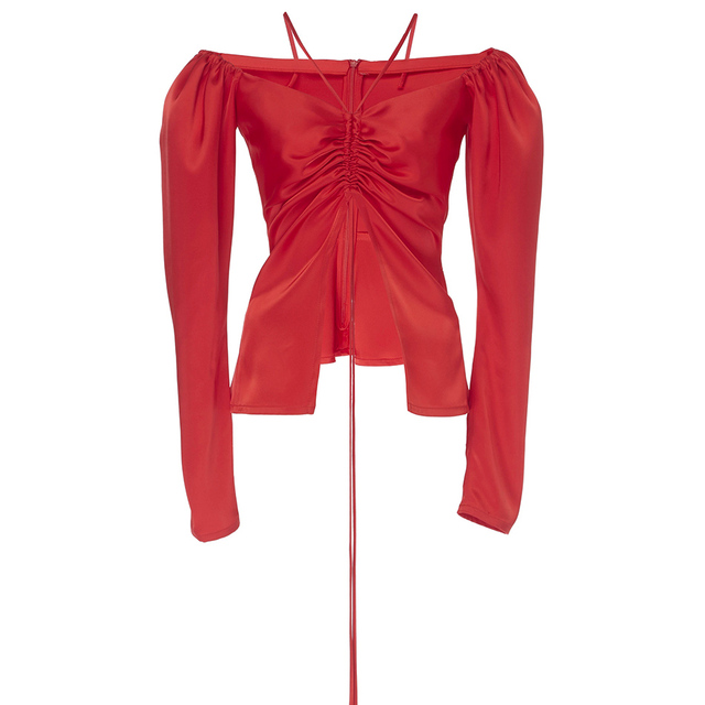Satin Off the Shoulder Ruched Open Top Back Zipper Red Bardot Babe Top Inspired by Kylie jenner 3