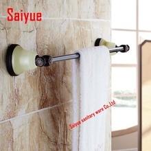 Природного нефрита стиль масло втирают бронза ванной вешалка для полотенец держатель на полотенце бары твердой латуни настенные стойки держатели